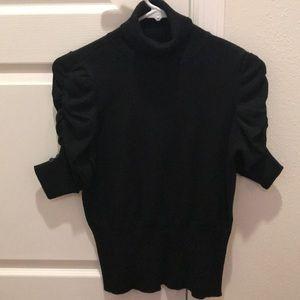 Black turtleneck sweater, 3/4 sleeve